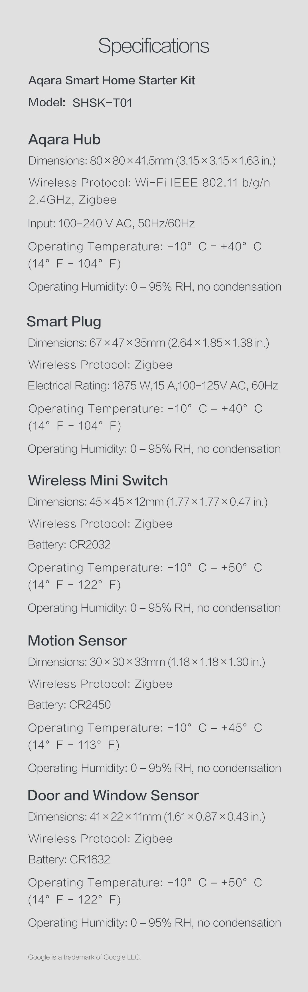 Aqara smart home starter kit specifications