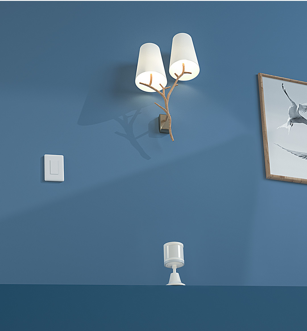 Smart lighting at night with our smart light switch and human motion sensor