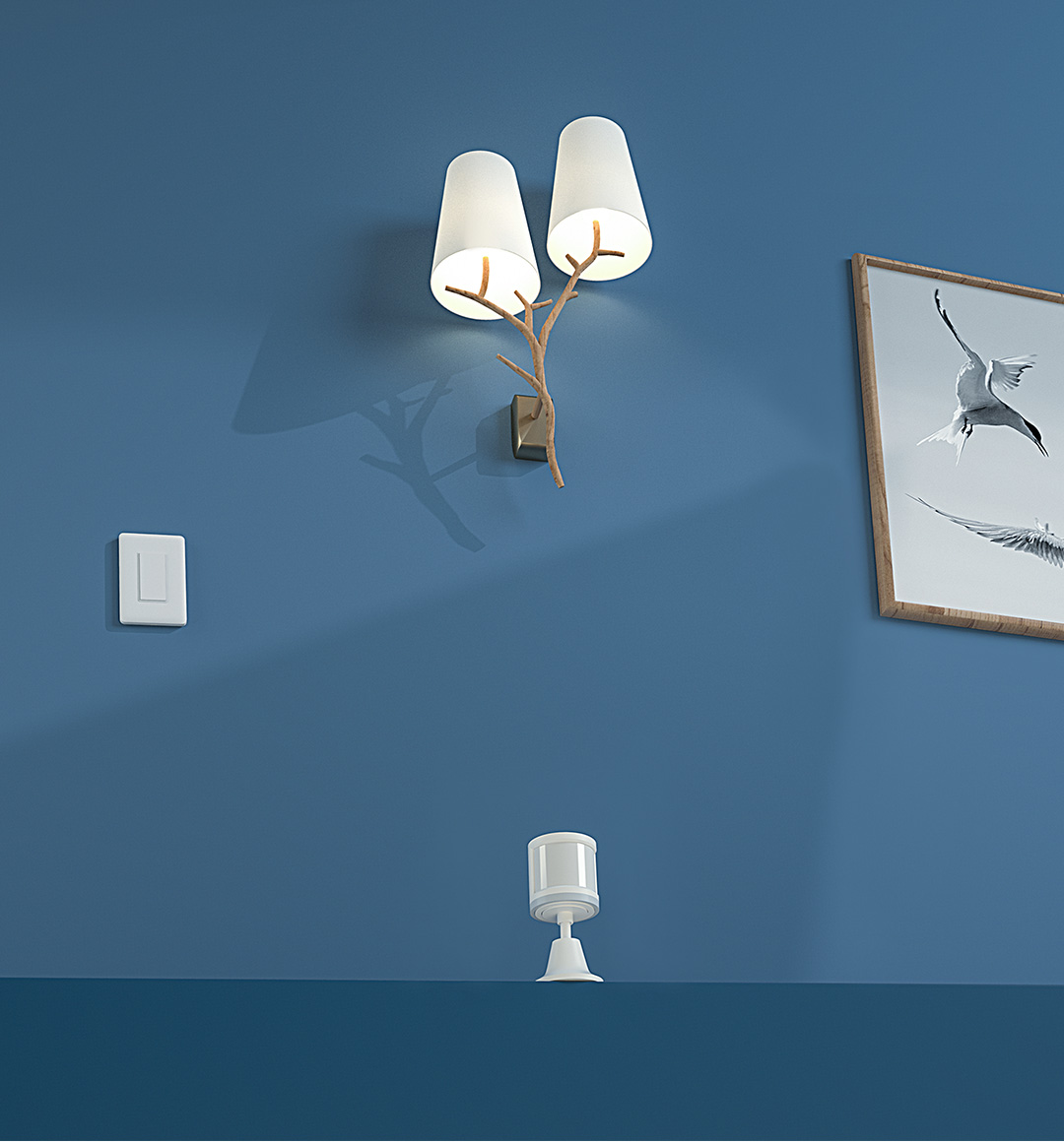 Smart lighting system with our smart light switch and human motion sensor