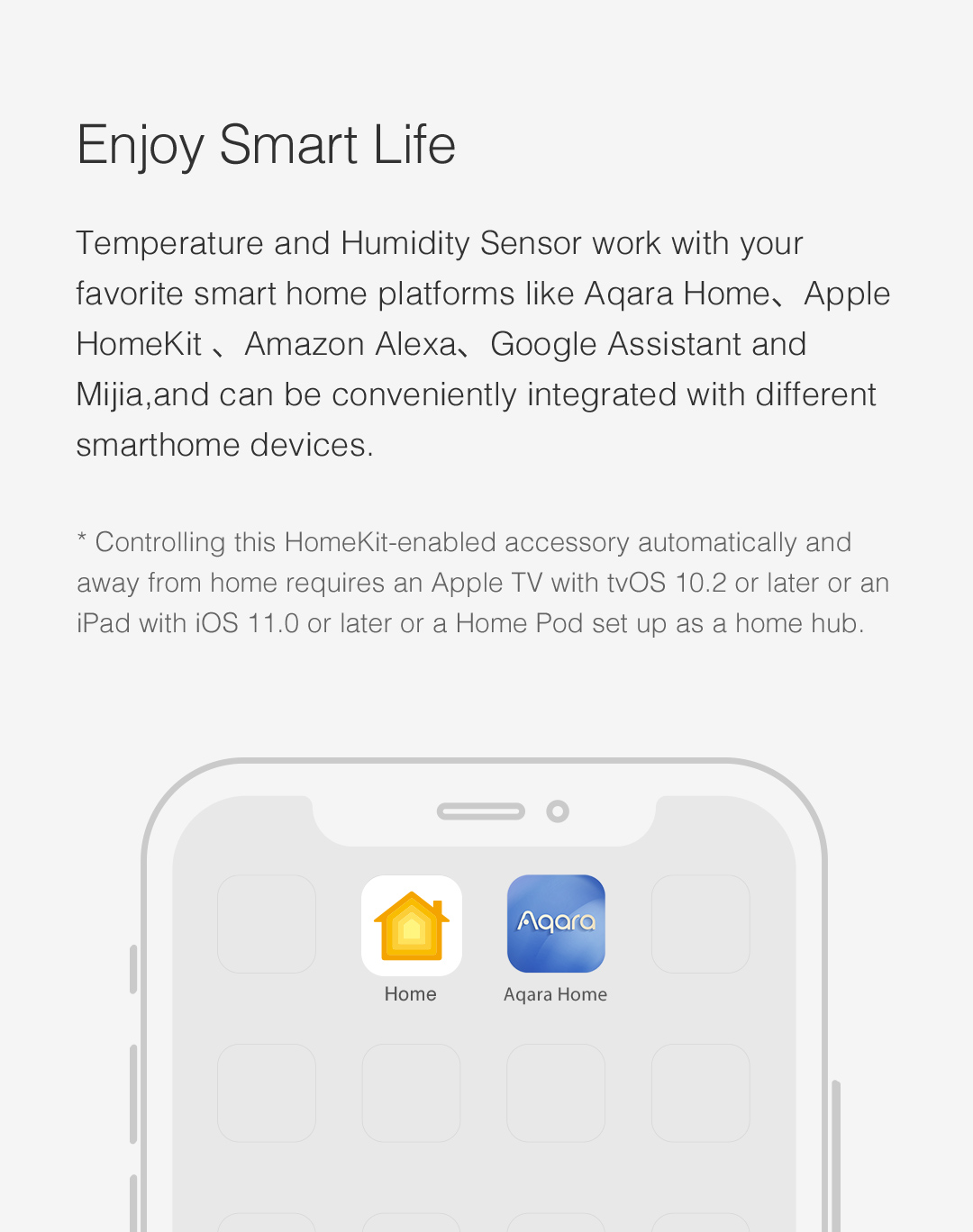 Aqara Temp and Humidity Detector works with other HomeKit-enabled accessories in Apple Home app