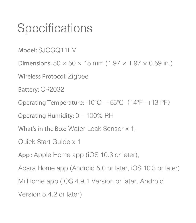 Aqara water sensor specifications