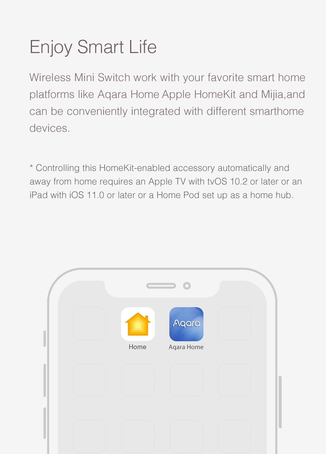 Wireless remote control switch compatible with Apple HomeKit.