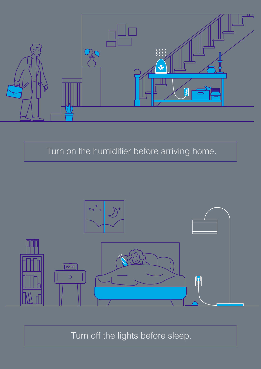 HomeKit Smart outlet: turn on the humidifier and turn off the lights