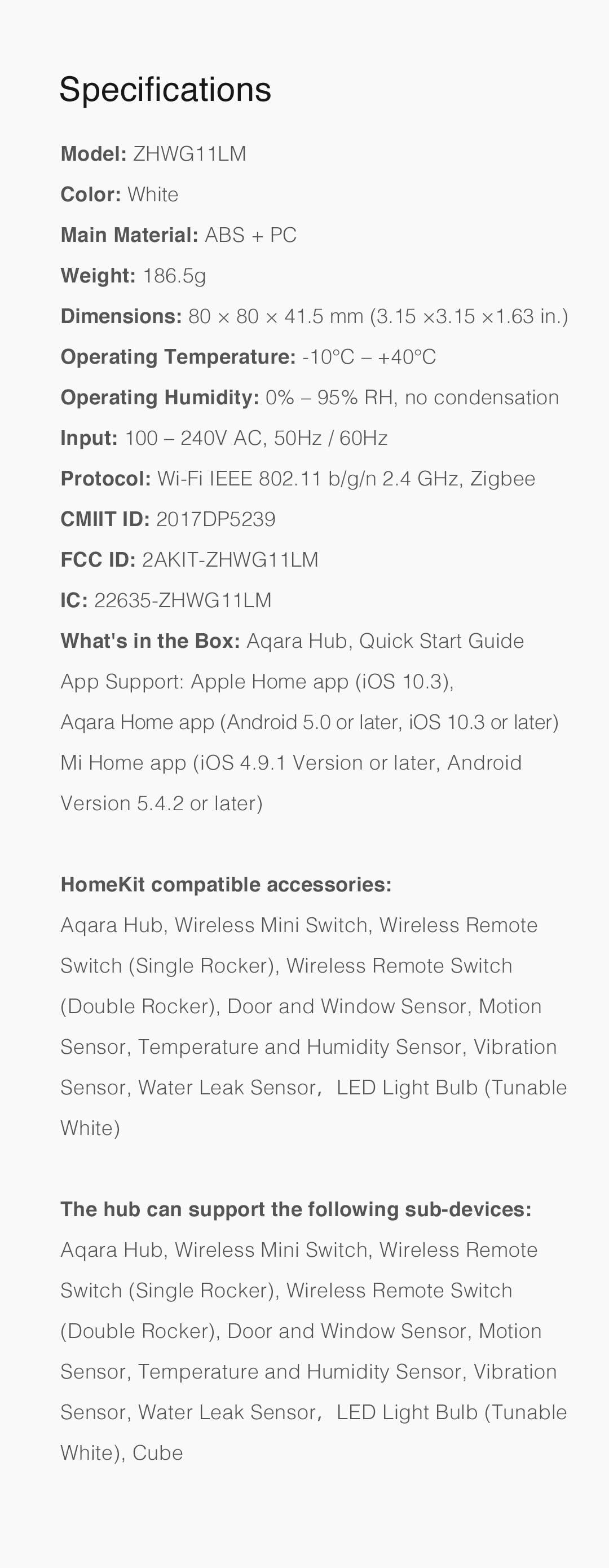 Aqara hub uk version specifications