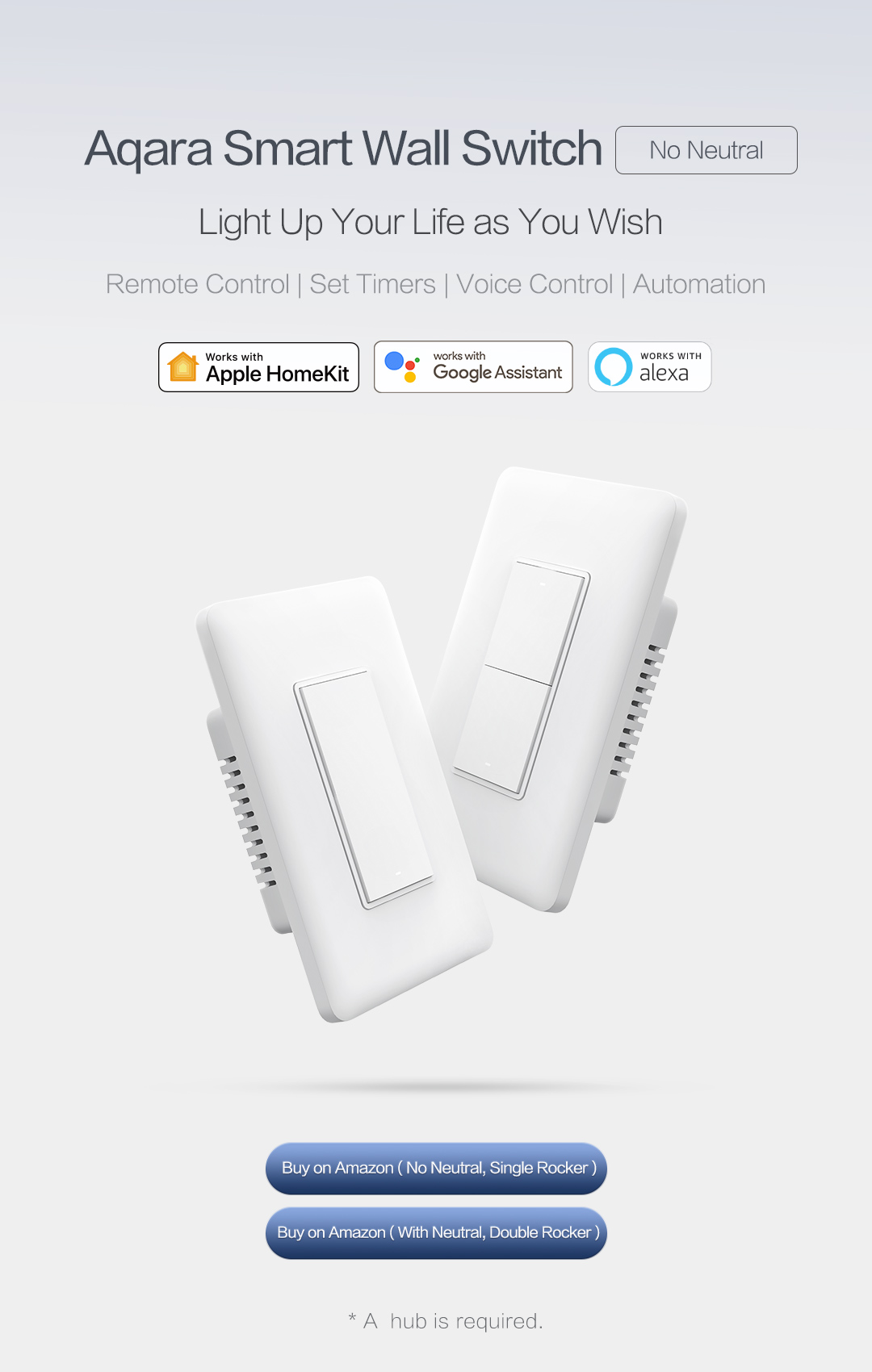US version smart swtich no neutral supporting remote control, set timers, voice control and automation.