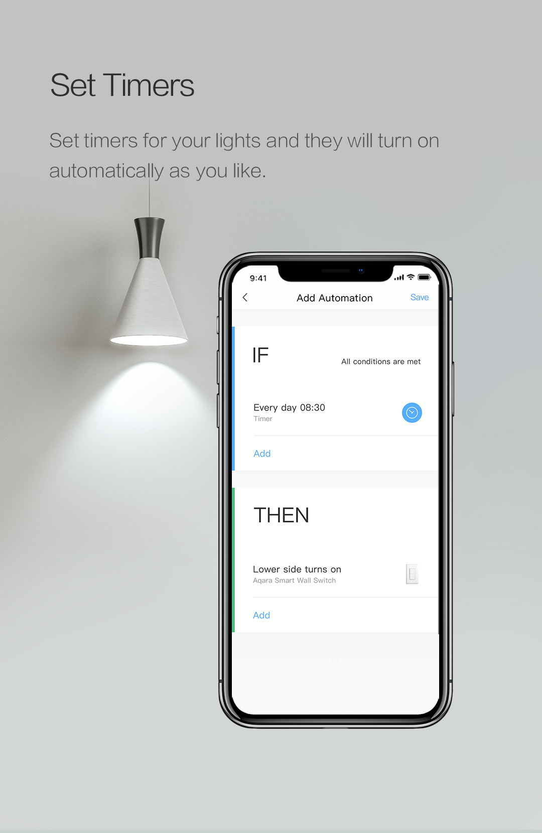 Set timers for our home automation switch to turn on/off automatically lights