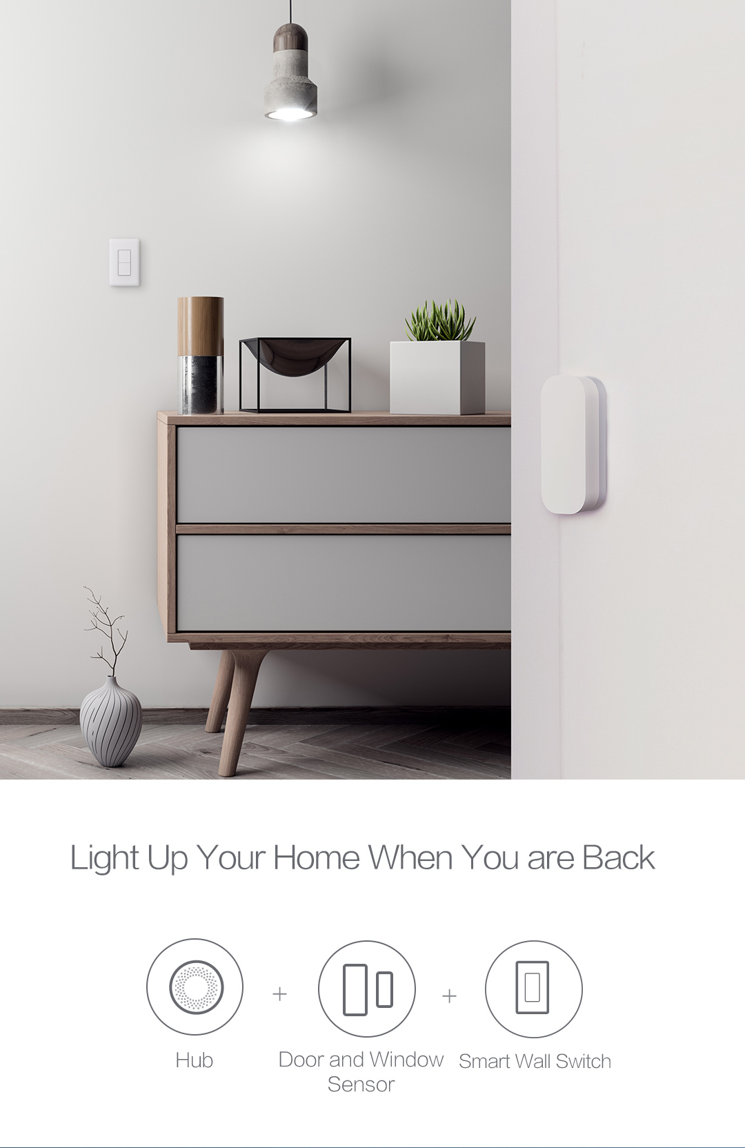 Smart home lighting control with our smart wall switch and door sensor