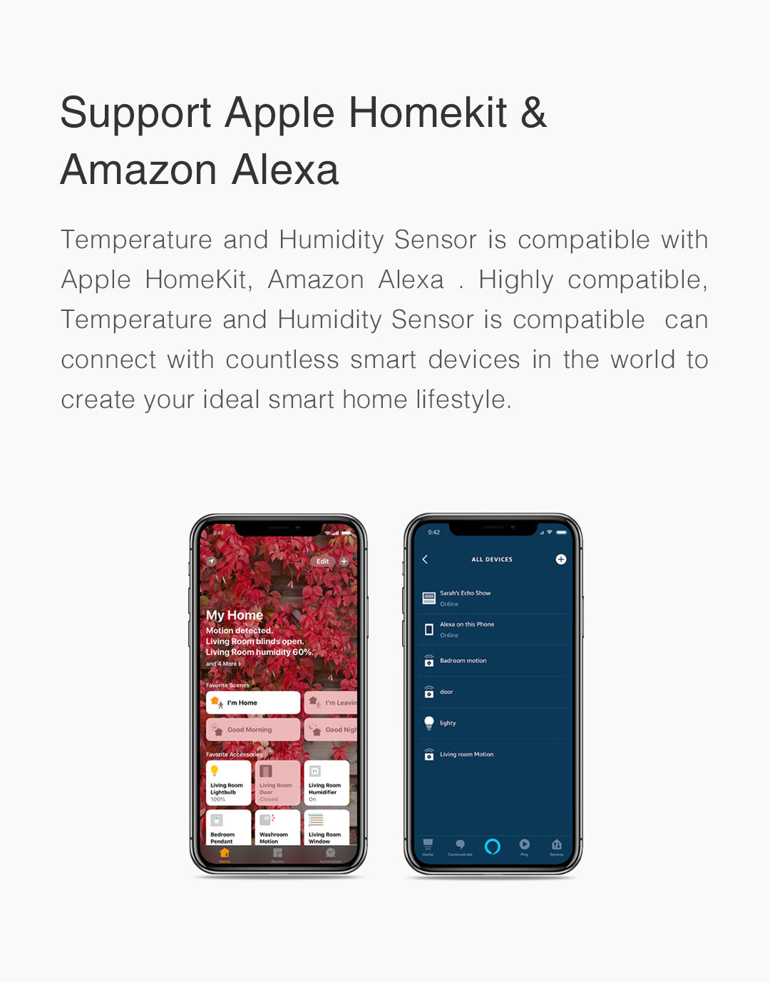 smart temperature humidity sensor for homekit/alexa